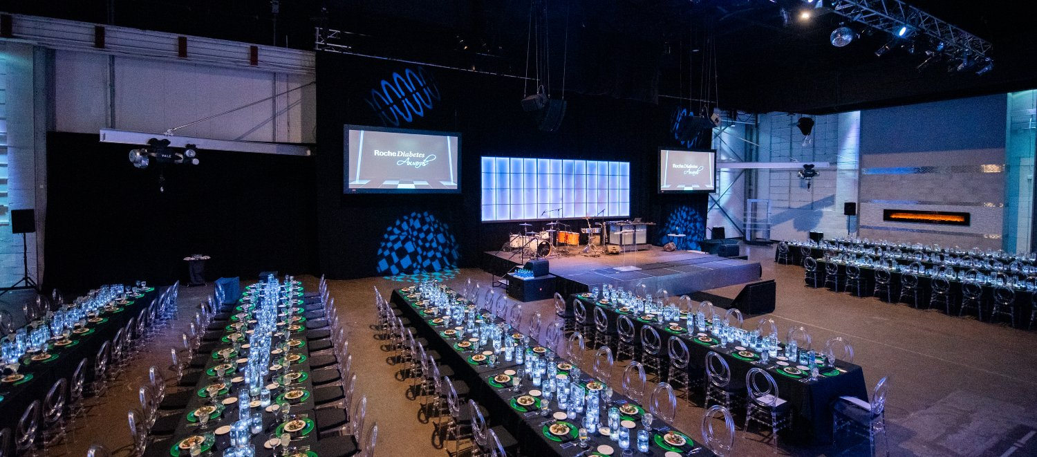 Corporate Communal Seating Glow Theme Event Downtown Indianapolis
