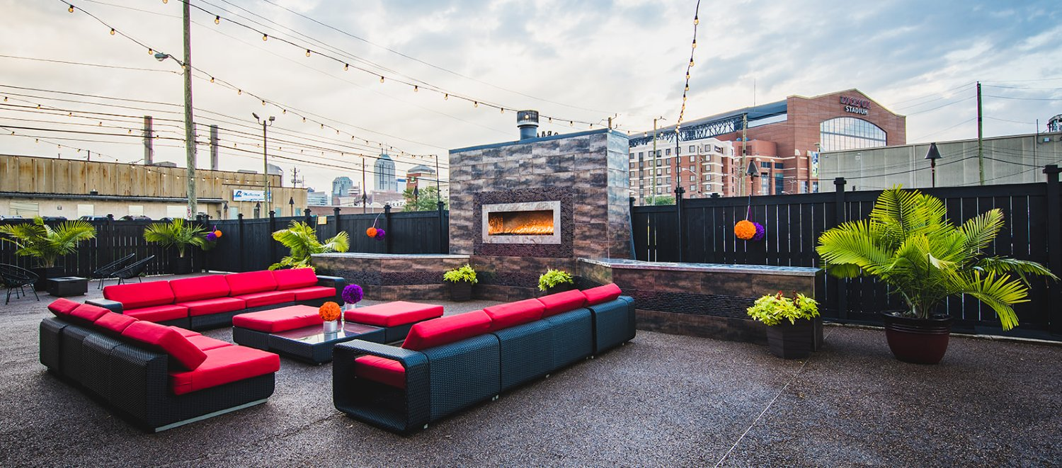 The view of downtown Indianapolis' skyline from the Crane Bay event venues outdoor patio
