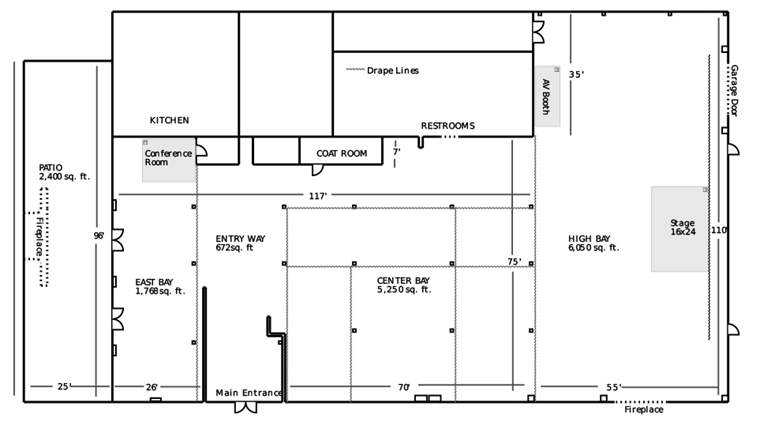 The Crane Bay Floor Plan complete with Drape Lines and Patio - a Downtown Indianapolis Event Venue
