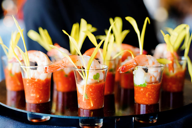Hors d'oeuvres of shrimp cocktail served to wedding reception guests at The Lodge at The Willows in Indianapolis