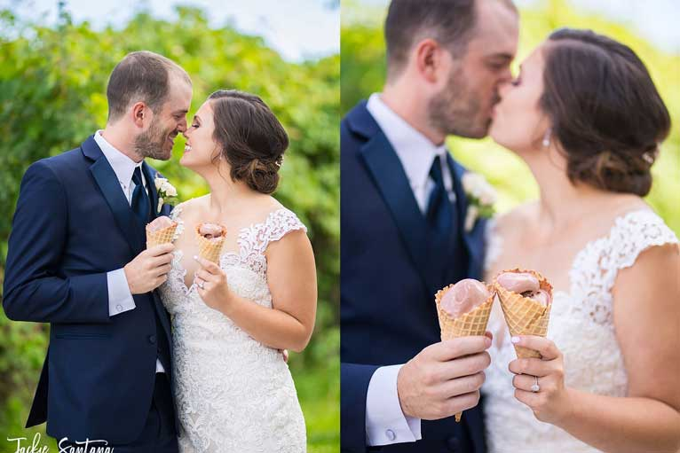 Groom and bride pose for photo holding ice cream to beat the heat at their summer wedding at The Ballroom at The Willows