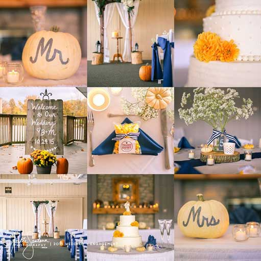 Autumn-inspired wedding ceremony and reception at The Lodge at The Willows