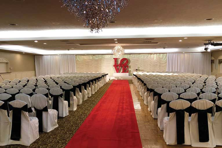 Wedding ceremony set up at The Ballroom at The Willows in Indianapolis