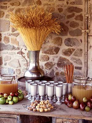 An apple cider station is a great fall wedding idea