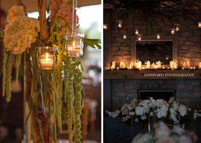 A romantic wedding reception being held at The Lodge at The Willows in Indianapolis