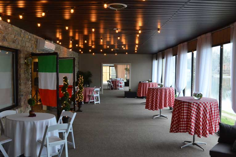 The terrace of the The Ballroom at The Willows that overlooks the lake and and is often a favorite silent auction location