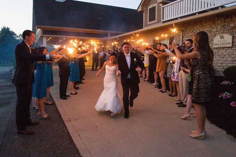 Sparkler exit for a wedding ceremony at The Ballroom at The Willows