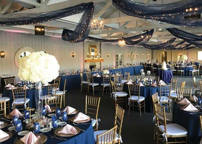 Modern wedding reception featuring navy at The Lodge at The Willows in Indianapolis