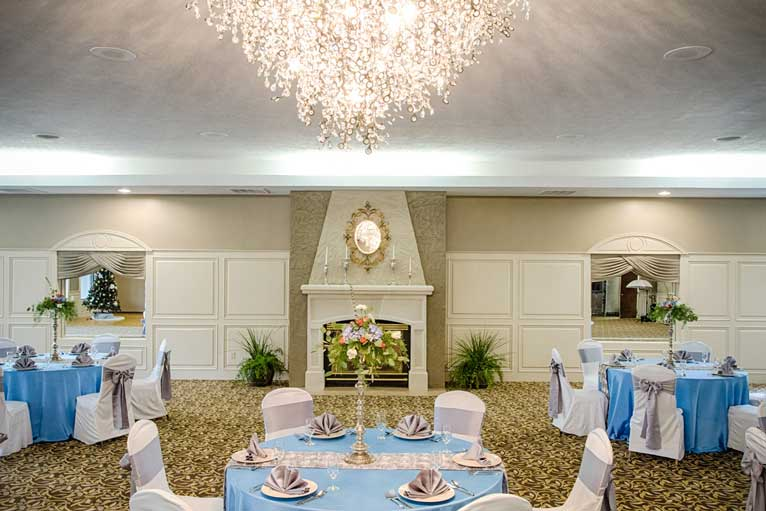 The Ballroom at The Willows decorated for an elegant wedding reception