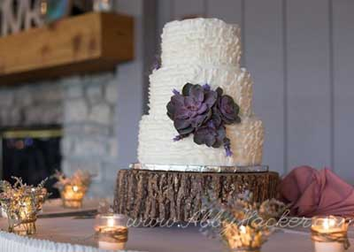 This rustic-themed wedding reception completes the look with a tree cake plate at The Lodge at The Willows