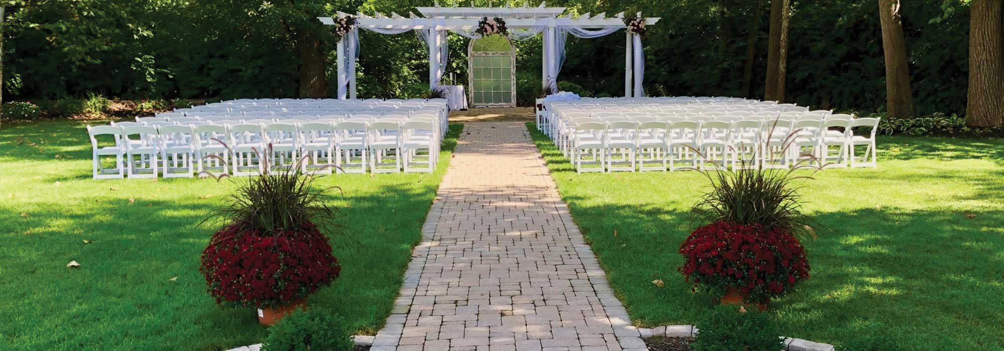 An Outdoor Wedding Ceremony at the South Garden at The Willows in Indianapolis