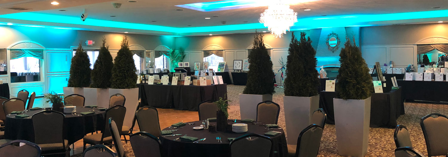Ballroom at The Willows set up for a silent auction in Indianapolis