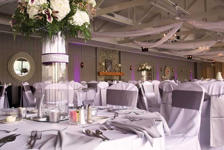 Lavender formal wedding reception event at The Lodge at The Willows in Indianapolis