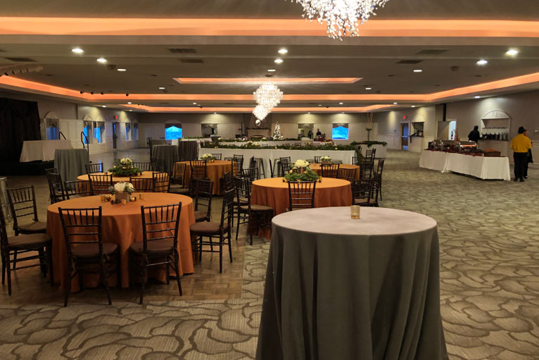 BRI Inc hosts their corporate event featuring a buffet food station at The Ballroom at The Willows in Indianapolis