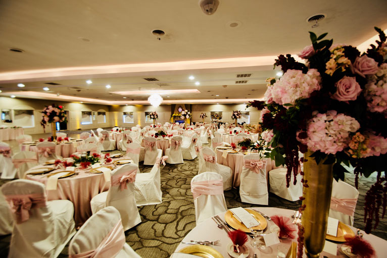 The perfect venue for a romantic wedding reception is The Ballroom at The Willows in Indianapolis