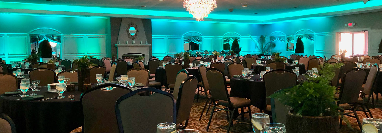 Ballroom at The Willows set up for a charitable event in Indianapolis