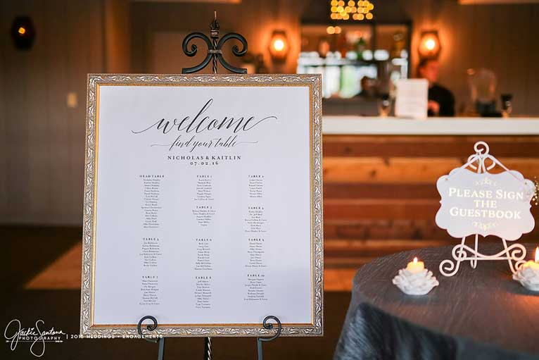 Garden-themed table assignments idea for wedding reception at The Lodge at The Willows in Indianapolis