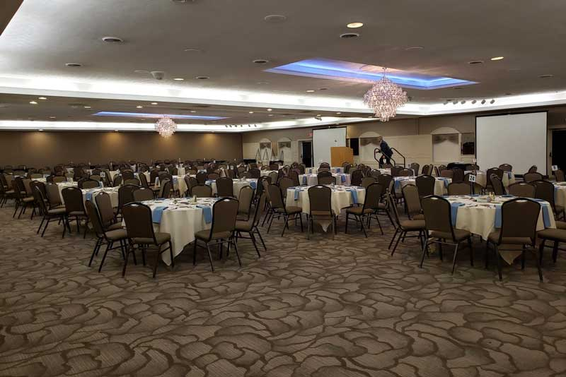 The Ballroom at The Willows with new carpet and standard banquet chairs and tables