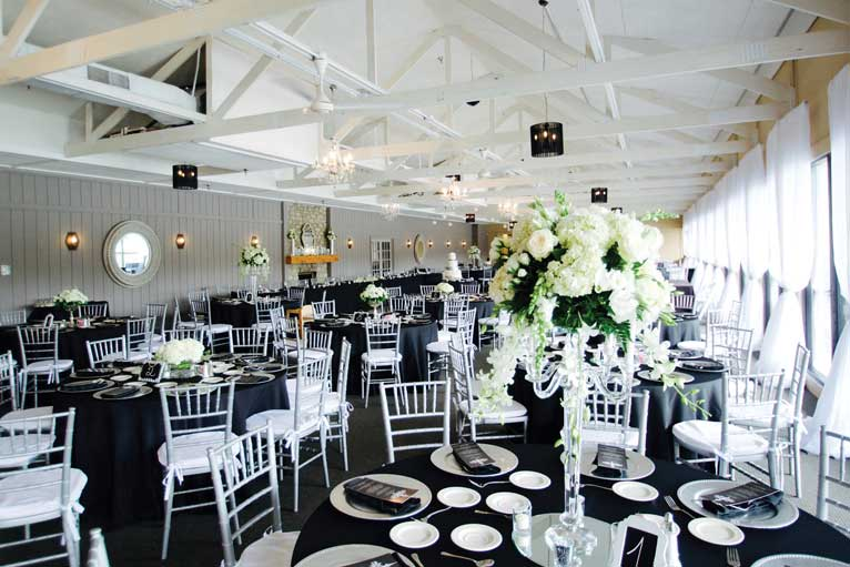 Classic wedding themed reception at The Lodge at The Willows in Indianapolis