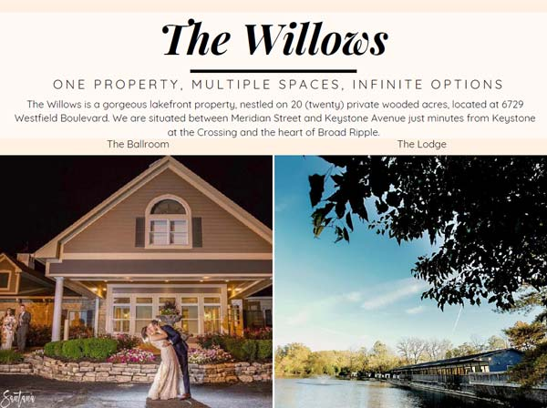 The Willows Wedding Ceremony & Reception Pricing & Brochure