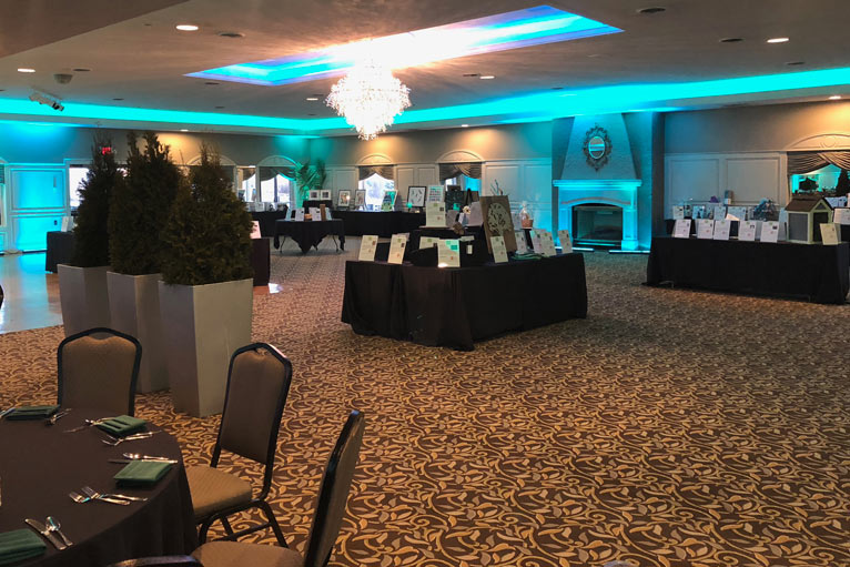 Ballroom at The Willows set up for a charity event in Indianapolis