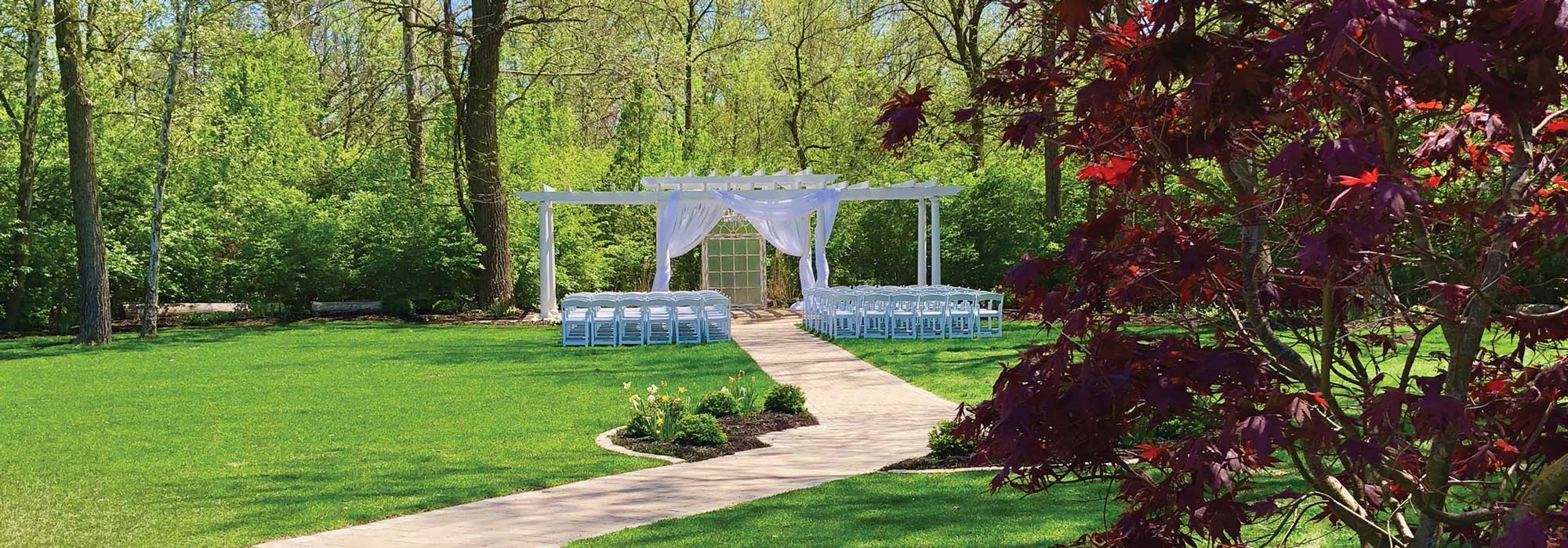 The Lakefront Garden at The Willows ready for a wedding ceremony on a spring day in Indianapolis