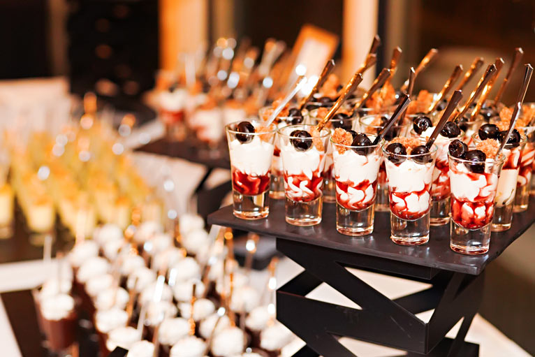 Dessert buffet for a wedding rehearsal at The Lodge at The Willows in Indianapolis