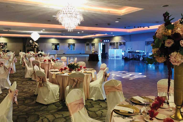 The Ballroom at The Willows set up for a modern wedding reception in Indianapolis