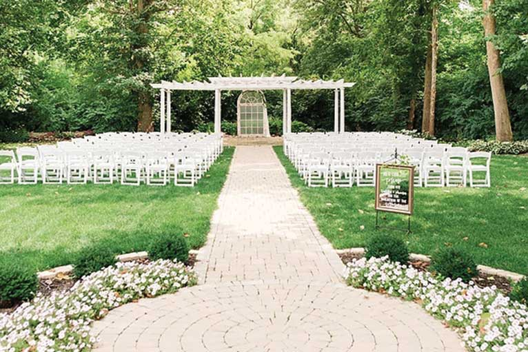 The Lakefront Garden at The Willows is ready for an outdoor wedding ceremony in Indianapolis