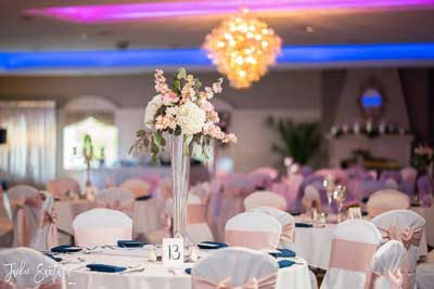 Glam wedding makes a beautiful table at the wedding reception at The Ballroom at The Willows