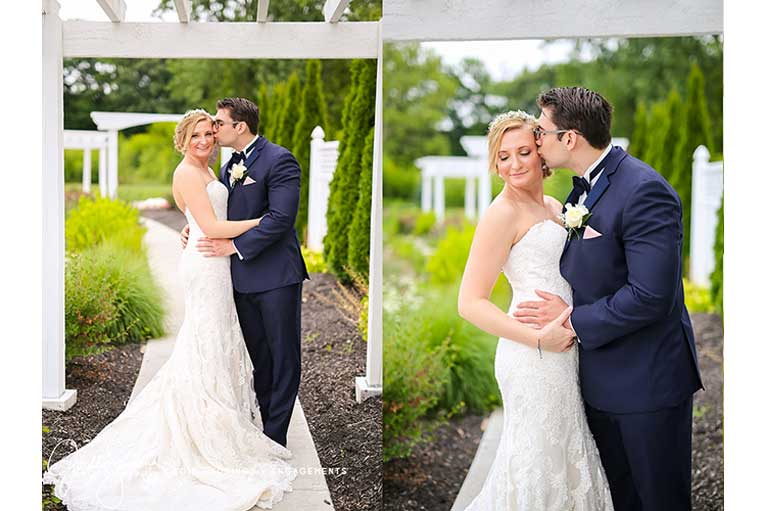 Bride and groom pose beneath the pergolas of the outdoor Lakefront Garden at The Willows in Indianapolis