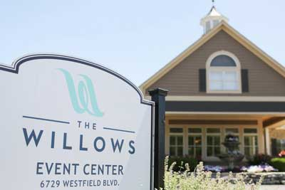 The entrance sign off of Westfield Road in Indianapolis for The Willows Event Center
