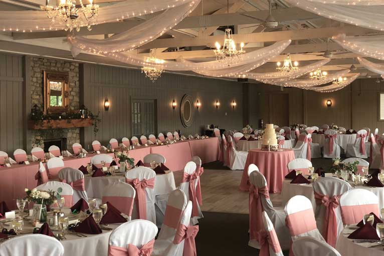 A classic pink-themed wedding reception hosted at The Lodge at The Willows in Indianapolis