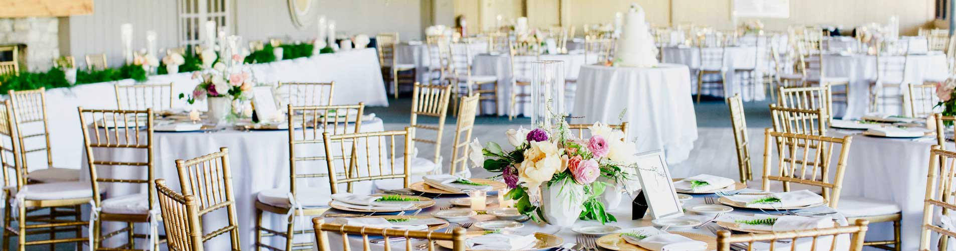 Elegant natural wedding reception at The Lodge at The Willows
