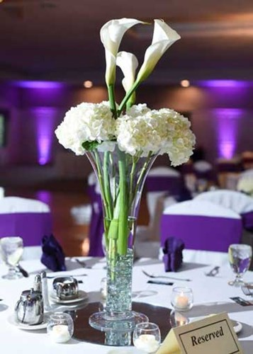 Contrast centerpieces at wedding reception at The Ballroom at The Willows