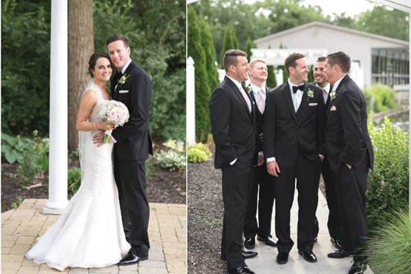 Bride and Groom and the Groomsmen pose in front of the waterfront venue, The Lodge at The Willows