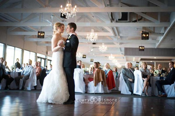 A first dance at The Lodge at The Willows, a waterfront rustic venue for any event or wedding