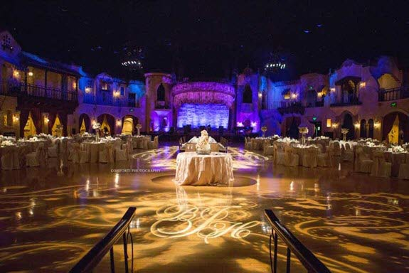 Centered head table and cake table for a wedding reception (The Indiana Roof Ballroom)