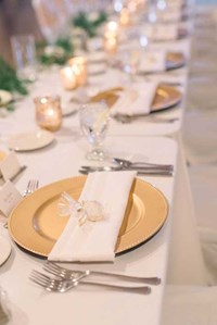 The place setting for an elegant wedding reception The Ballroom at The Willows