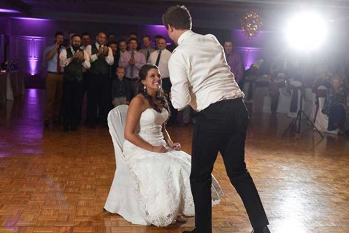 Groom sings to bride on the dance floor of the The Ballroom at The Willows in Indianapolis