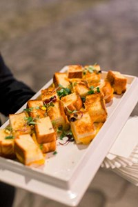 Grilled cheeses make the perfect elegant comfort food for this wedding reception