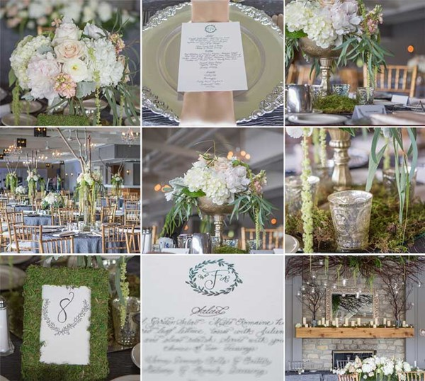 Including greenery helps to pull off the rustic wedding theme, The Lodge at The Willows in Indianapolis