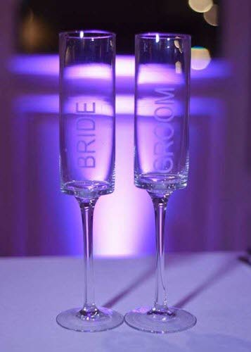 Bride-Groom champagne flutes at a wedding reception at The Ballroom at The Willows in Indianapolis