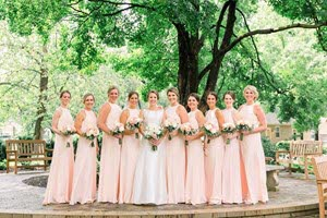 Bridesmaids outside for an elegant wedding in Broad Ripple