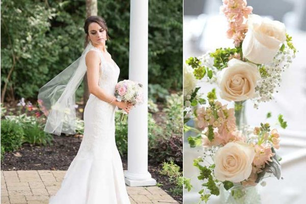 Rustic chic floral bouquet and bride at The Lakefront Gardens at The Willows