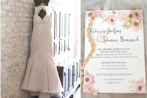 Rustic chic wedding invitation and wedding dress