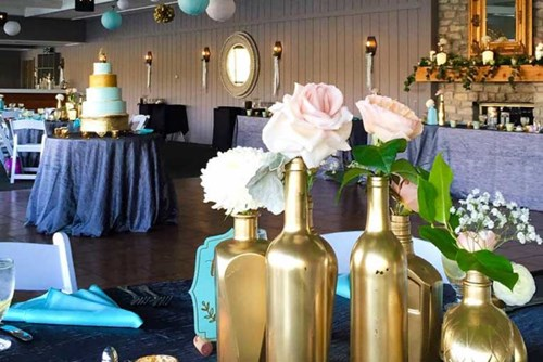 The Lodge at The Willows hosting a modern wedding reception in this lakefront venue in Indianapolis