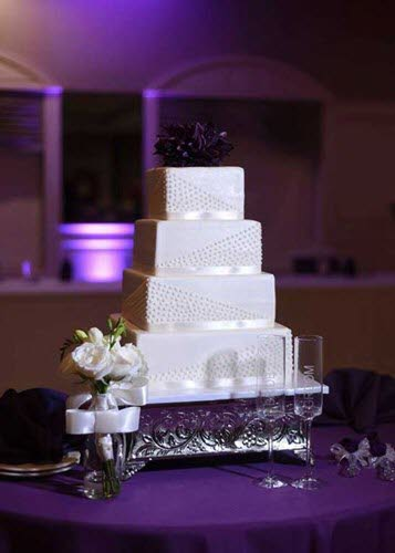 Classic square wedding cake for a wedding reception at The Ballroom at The Willows in Indianapolis