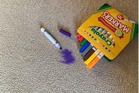 Purple marker on carpet