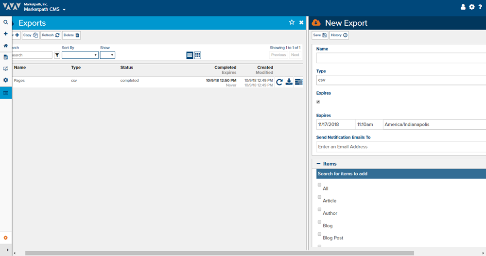 Image of Marketpath CMS's Export functionality